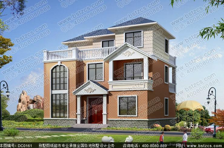 农村二层坡屋顶小别墅设计效果图