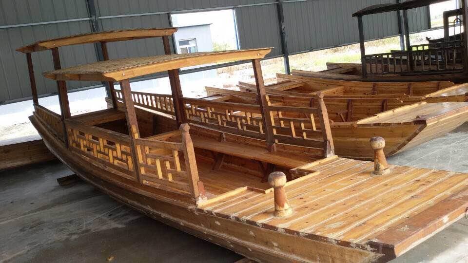 大型画舫木船高档纯手工制造景区仿古电动观光餐饮玻璃钢画舫游船
