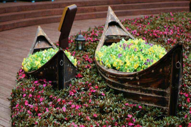 圆底景观船装饰船悬挂木船摄影道具船特色主题风格装饰船