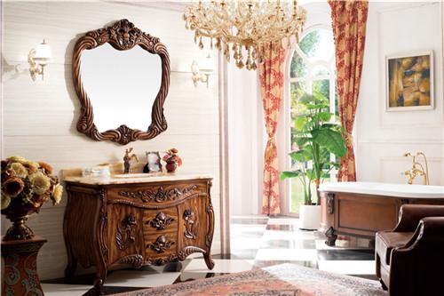 仿古落地卫浴柜组合 欧式橡木浴室柜
