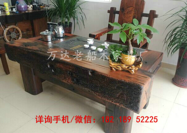 内蒙古老船木家具批发休闲泡茶桌图片简约茶几特色功夫泡茶桌