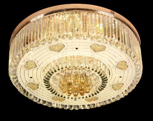 卧室温馨浪漫水晶灯婚房吊灯简约客厅灯心形圆形灯具