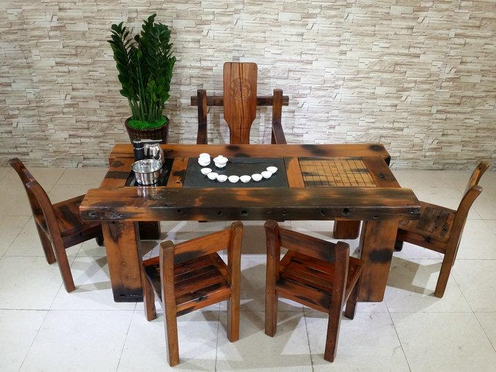 老船木现代中式客厅茶桌