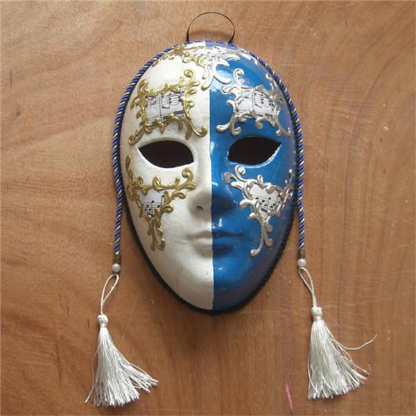 品名 手绘立体纹饰/威尼斯风格圆脸/100%环保纸浆/乐谱/化妆舞会面具