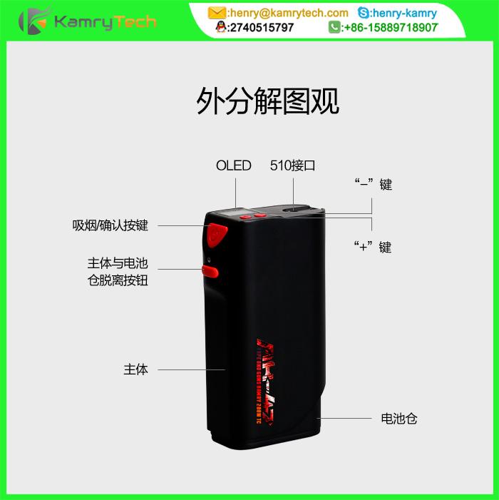 凯明瑞200W弹匣式万能温控电子烟