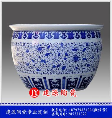 青花瓷工艺品大缸 定做一米口径风水缸价格