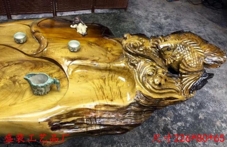 金丝楠木根雕茶台茶几雕刻金鱼