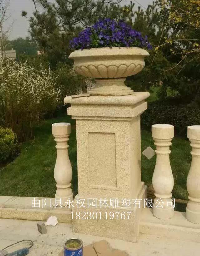 汉白玉石雕花钵 永权雕塑制作厂家