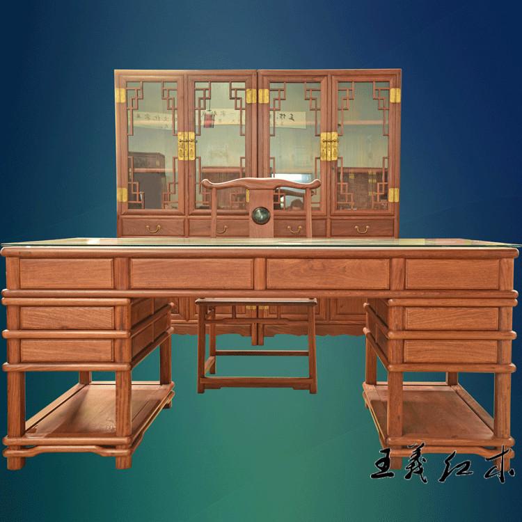 缅甸花梨办公桌 木雕 料大工细 精雕细琢的大书桌 王义红木