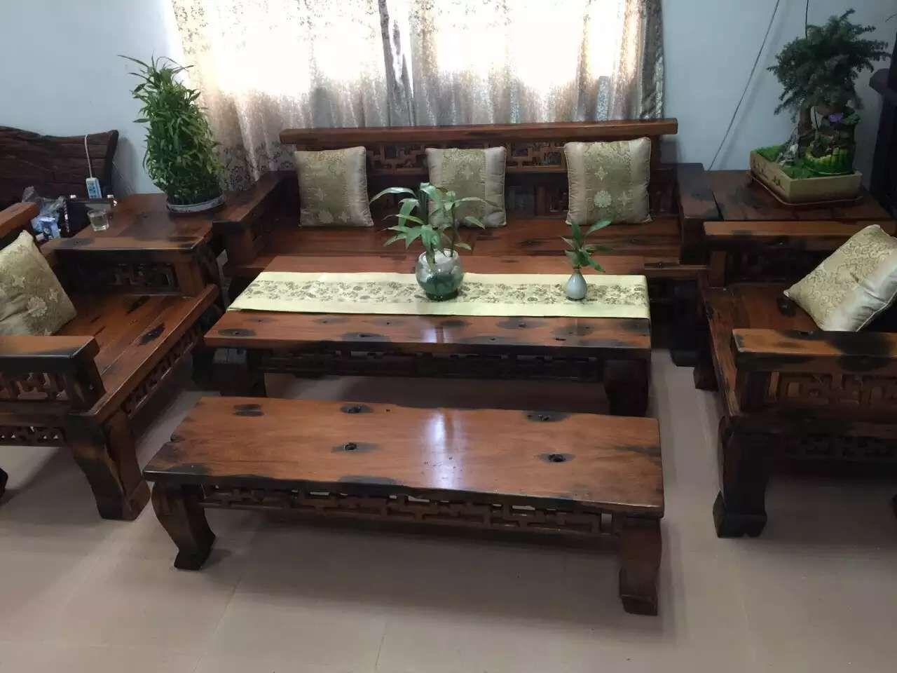 【天津老船木茶桌特价船木茶桌客厅茶桌椅组合图片】
