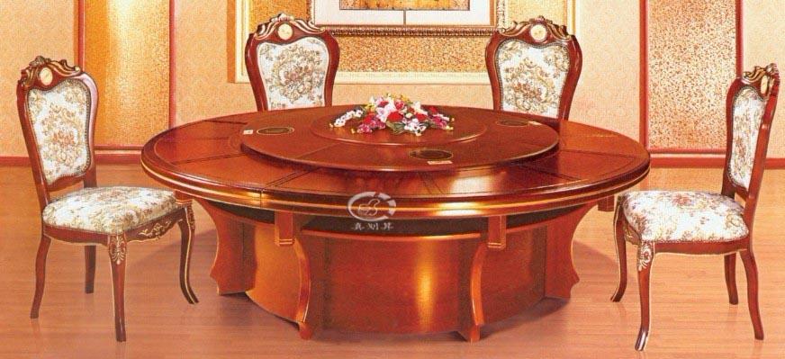 秉德家具电动餐桌酒店实木圆桌厂家直销