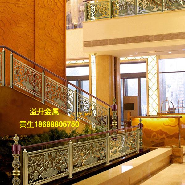 钛金欧式镂空雕花荷花不锈钢楼梯扶手 豪华酒店装饰栏杆 ktv护栏,建筑