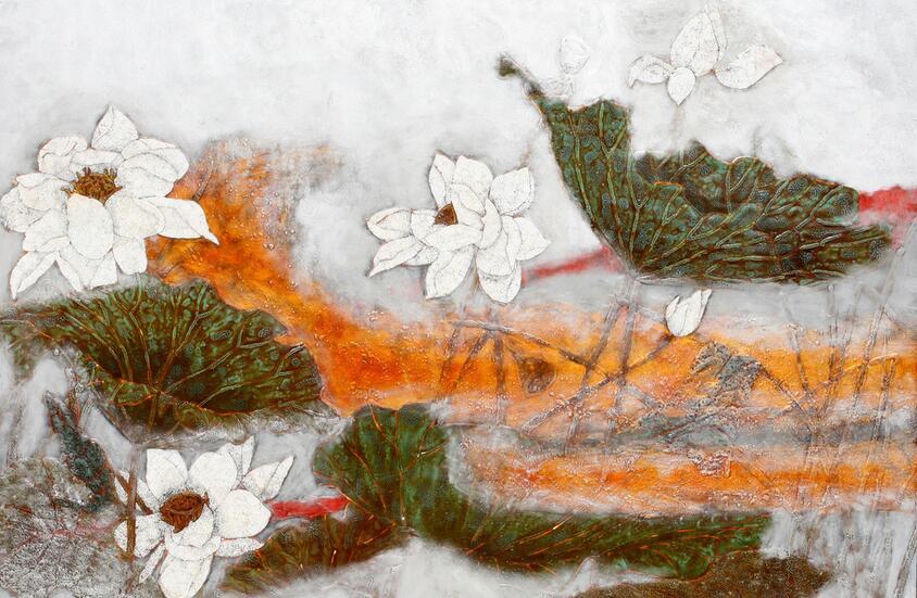 鸿韵画业福建酒店漆画定制厂家火中的凤凰 凤凰涅槃 浴