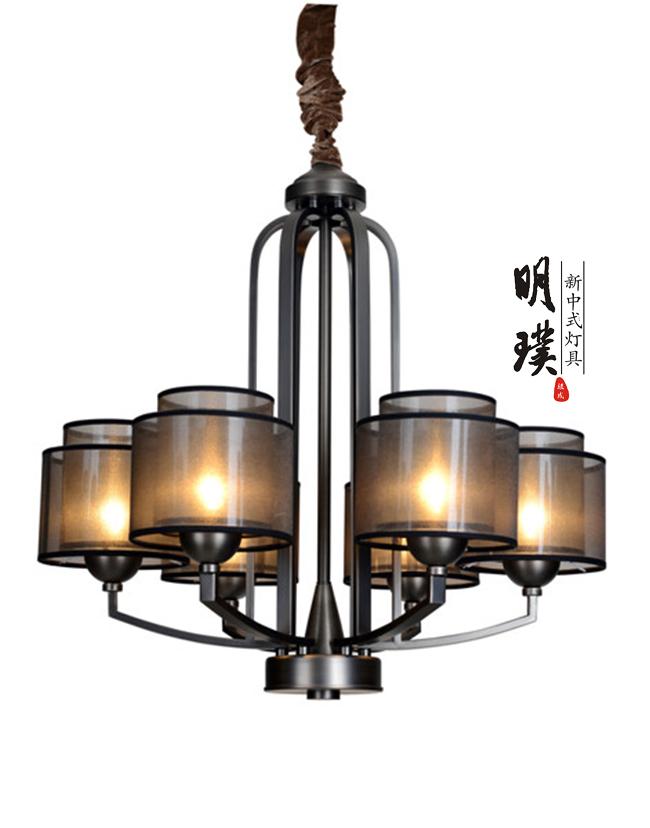 明璞新中式布艺吊灯 走廊卧室现代中式简约铁艺吊灯批发厂家
