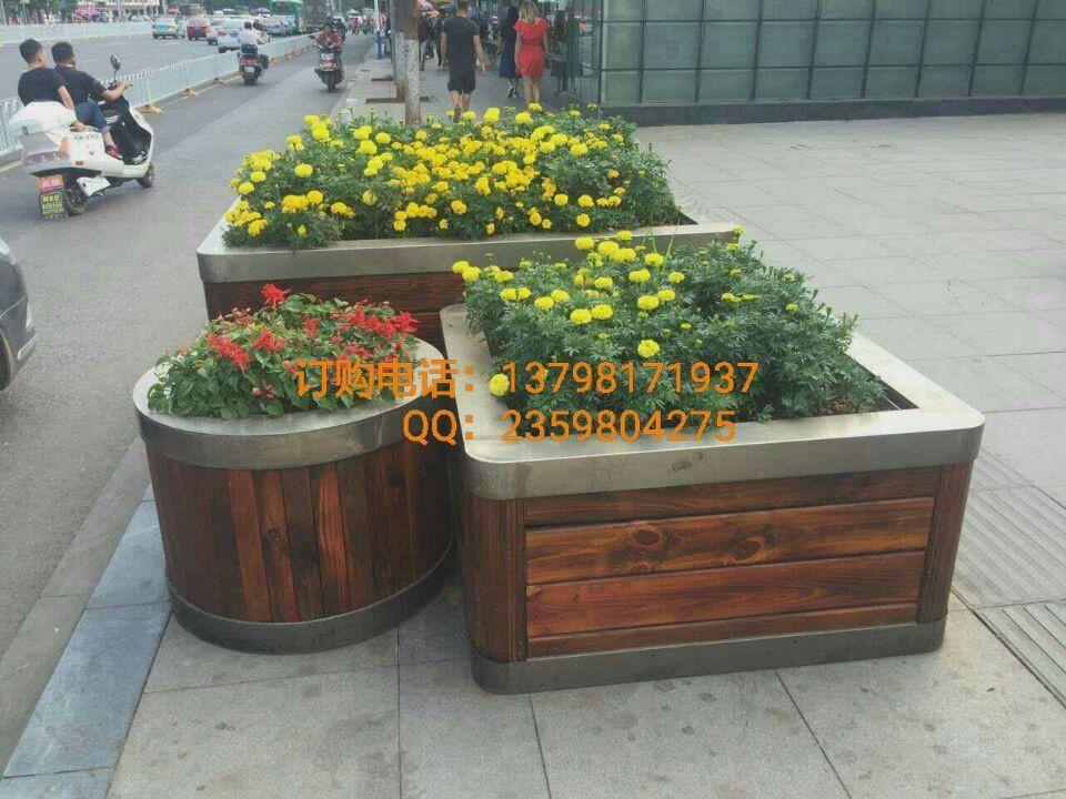 供应园林木制花箱,不锈钢树池,景观花盆
