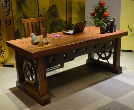 厂家直销老船木家具办公桌电脑桌实木中式仿古主管桌