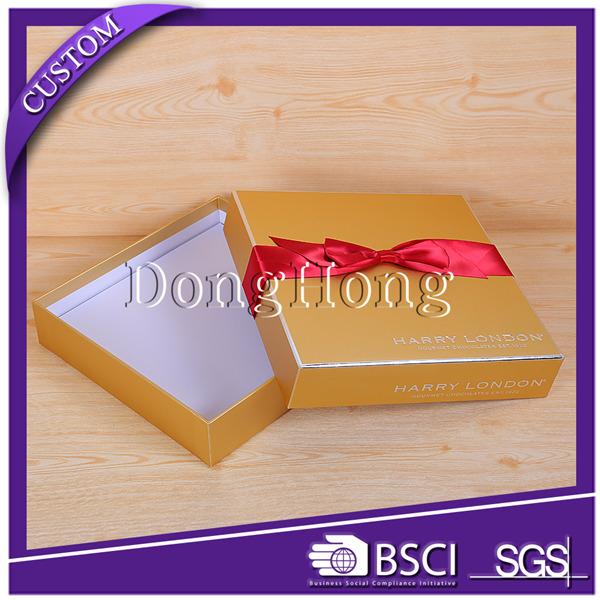 东莞市东鸿定制带蝴蝶结金卡纸天地盖巧克力包装盒 logo烫金巧克力礼品盒