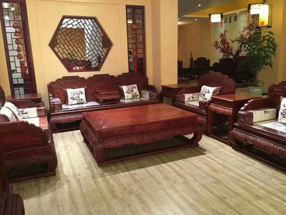 雍王府红木 古典荷花宝座沙发 缅甸花梨木 大果紫檀