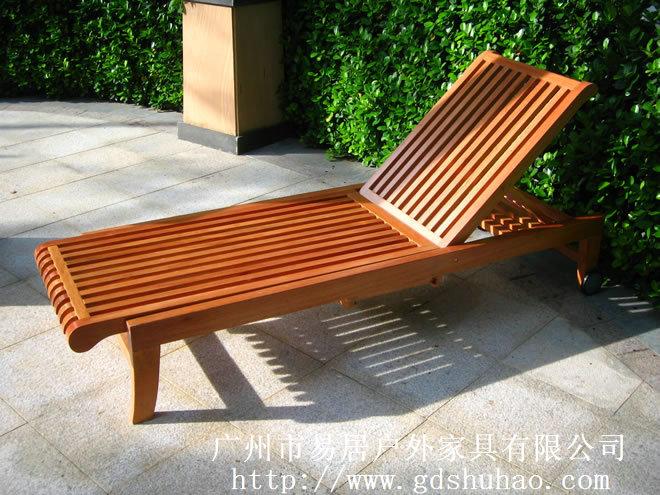 厂家直销豪华沙滩躺椅 景区沙滩椅 实木休闲躺床