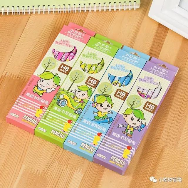 小松树铅笔价格12支彩盒卡通小皮头 ,