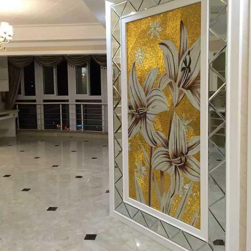 蓝晶灵欧式水晶玻璃艺术拼花马赛克剪画瓷砖玄关过道拼图客厅电视背景