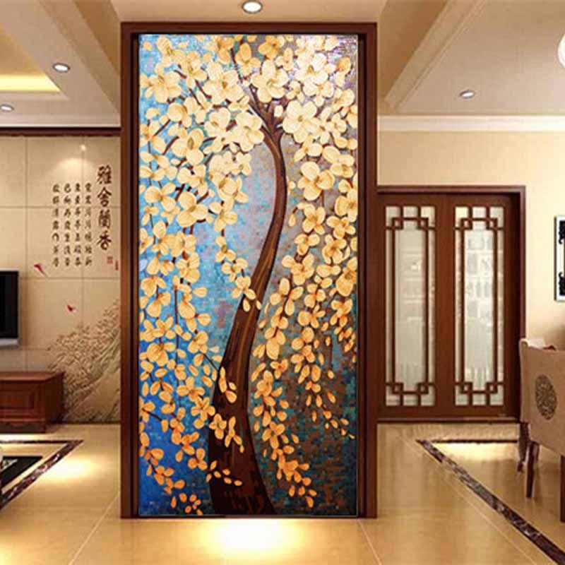 蓝晶灵发财树水晶玻璃马赛克剪画拼花玄关背景墙客厅电视墙拼图装修