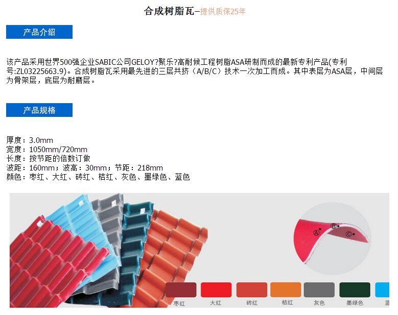供应佛山红波牌树脂瓦1050型树脂瓦配件