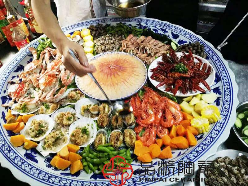 超大海鲜大盘一米陶瓷盘样式可定制批发