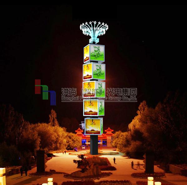 【LED旋转广告机设计制作|旋转魔方柱材质|广告魔方屏尺寸】
