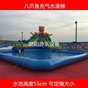 广场大型充气水池 室外儿童充气水滑梯组合批发 水上乐园支架水池厂家