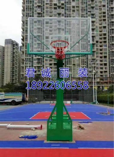 清远篮球场球架安装、篮球场地坪漆施工