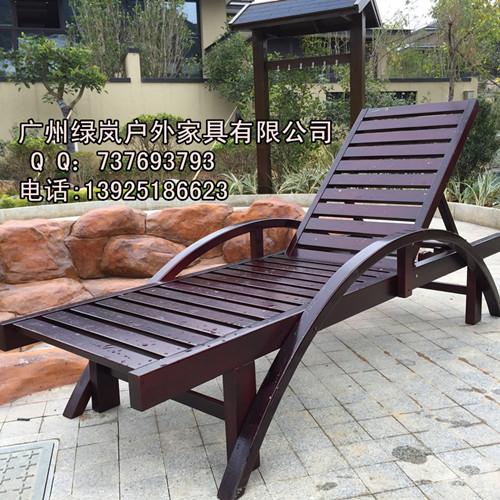 厂家直销2017新款SM1户外实木沙滩椅防腐防晒泳池躺椅