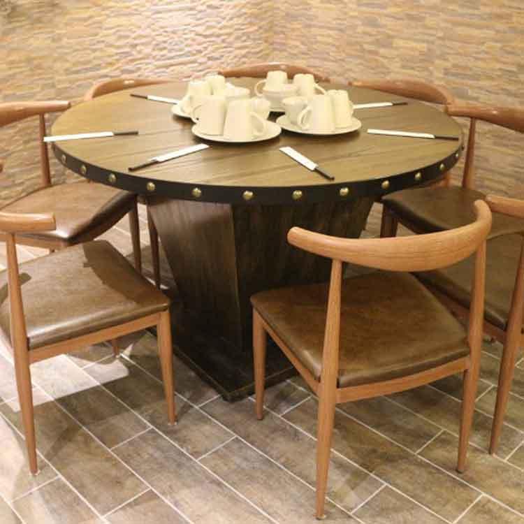 全实木餐桌椅组合饭店桌椅餐厅火锅桌定制 仿古圆桌餐