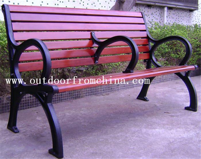 供应吉林辽源木质休闲椅 铸铁木条靠背椅 长椅