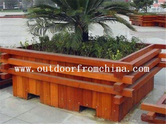 供应山西公园木质移动花箱 组合花架 花车
