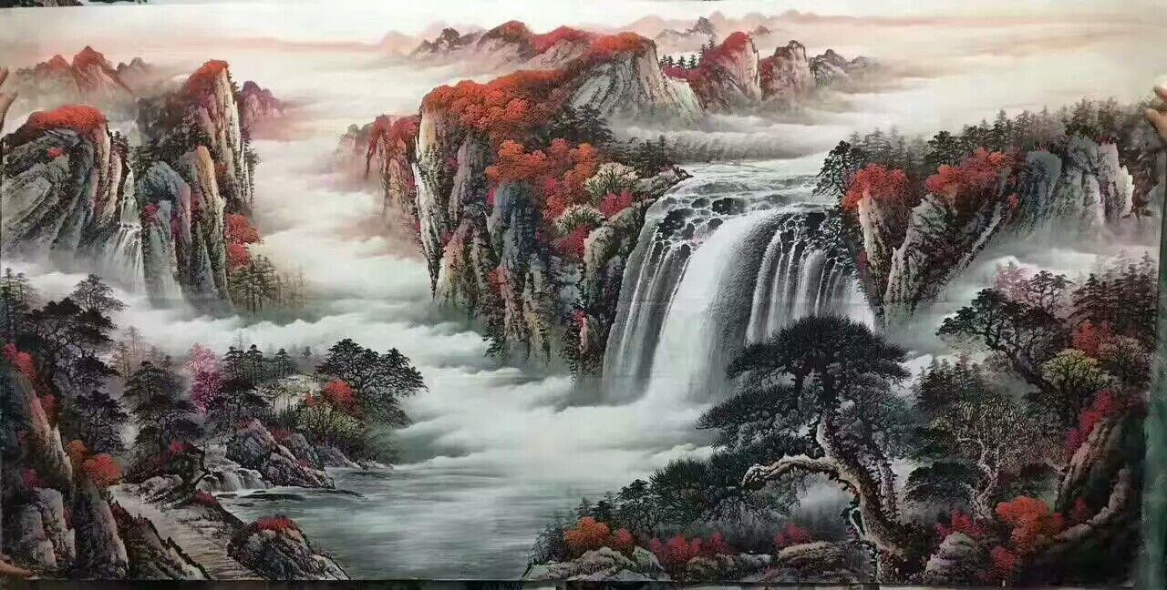 国画名家墨轩订制批发延安国画山水画客厅画风水画,一手货源,货到付款