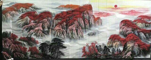 陕西国画名家墨轩直销咸阳国画客厅画山水画,风水画,一手货源,厂家直供