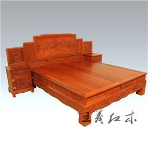潍坊传统中式缅甸花梨双人床  中式古典  绿色时尚