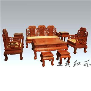潍坊老师傅纯手工打造缅甸花梨客厅沙发  古典大方