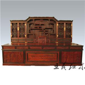 潍坊古典富贵大红酸枝办公桌 打造温文尔雅的办公环境