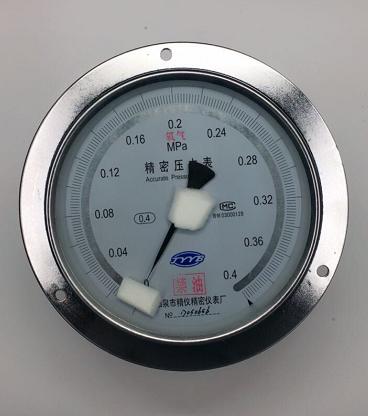 供应阳泉0.4级高压氧舱氧气精密压力表YBO-150ZT