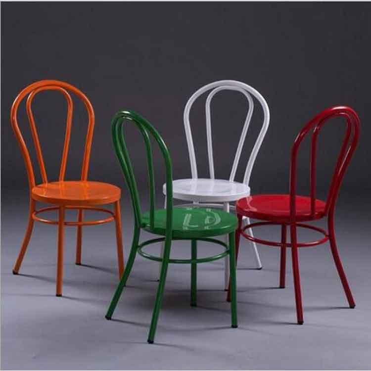 欧式餐厅铁艺椅子餐椅 个性时尚铁皮餐厅饭店椅子彩色快餐金属椅