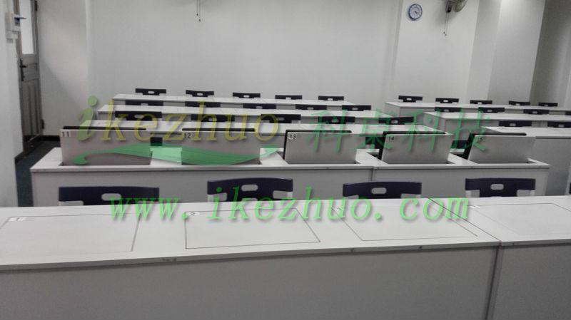 科桌K166翻转电脑桌 电教室电脑桌 机房电脑桌