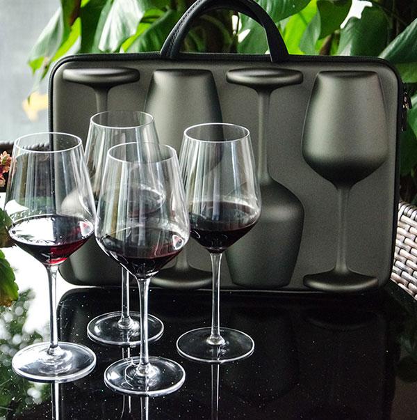 芯锐酒具畅享四只装人工无铅水晶红酒杯葡萄酒杯户外便携