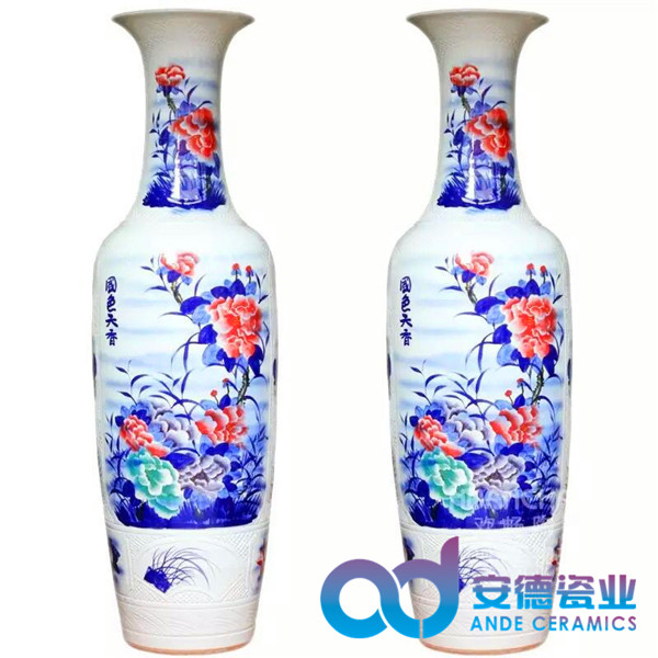 粉彩陶瓷工艺大花瓶厂家定制销售