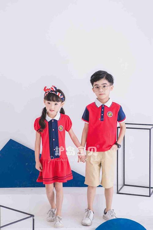 护岛宝贝幼儿园园服男女童新款珠地棉拼接儿童夏季套装校服