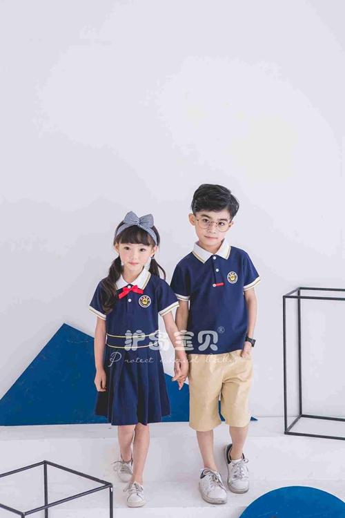 护岛宝贝幼儿园园服男女童新款珠地棉英伦风儿童夏季套装校服