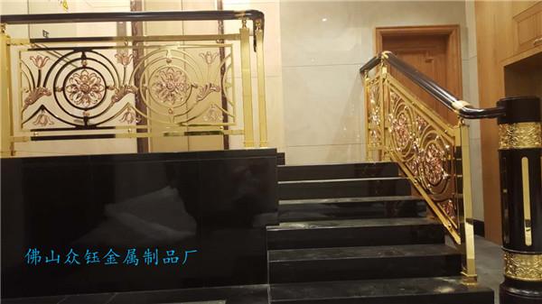 供应铝艺雕刻楼梯扶手 半浮雕铝艺护栏定做