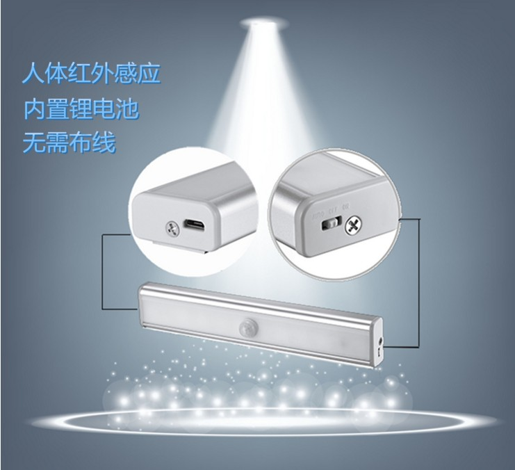福康创意USB灯人体感应小夜灯 外贸新奇特爆款LED感应智能橱柜灯