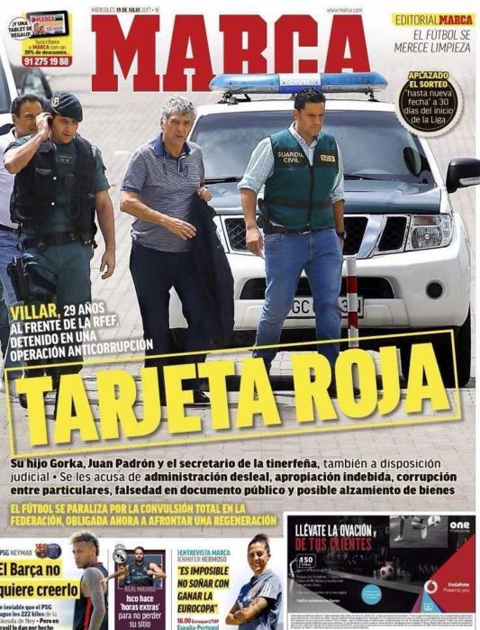 今日头版新闻快看来:西足协主席被逮捕